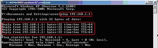 Ping tới địa chỉ IP của Router