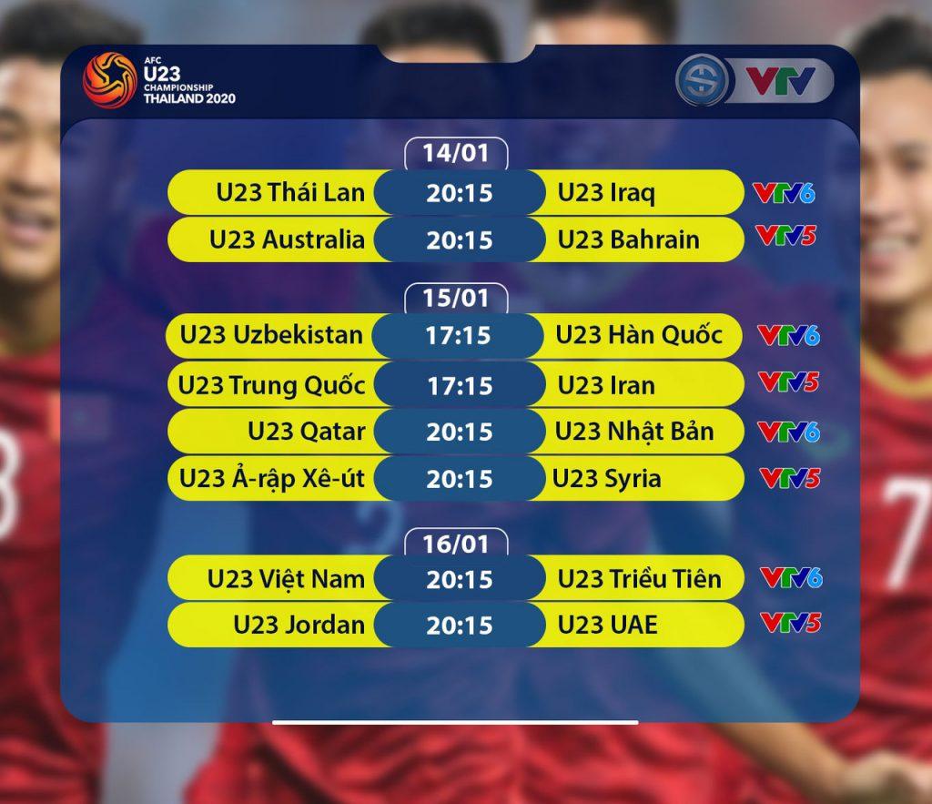Các trận đấu thuộc Vòng chung kết U23 châu Á 2020 được Đài Truyền hình Việt Nam tường thuật trực tiếp trên các kênh VTV5 và VTV6