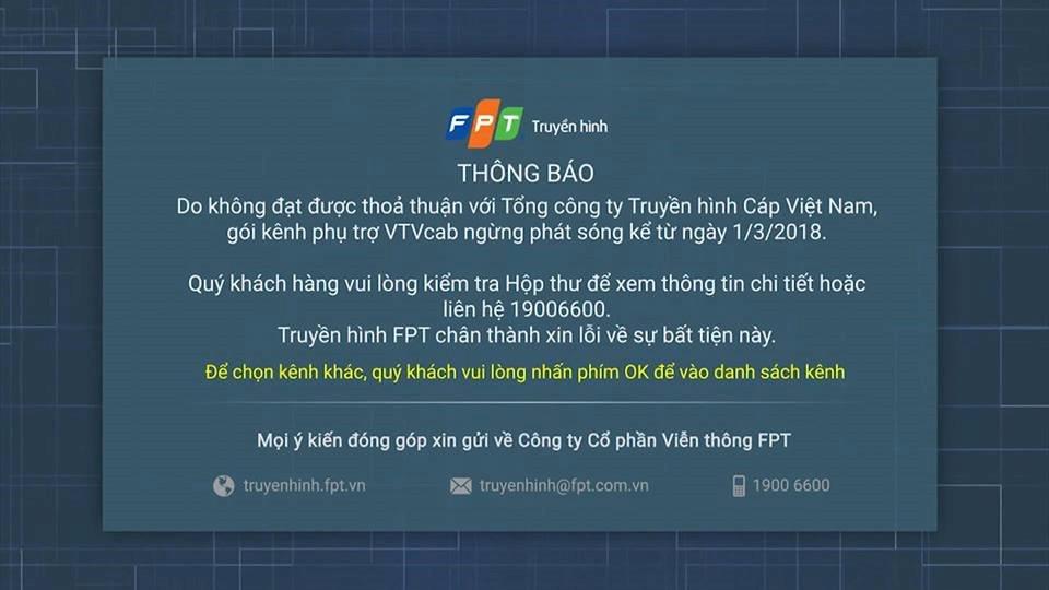 Truyền hình FPT ngưng phát sóng các kênh của VTVCab