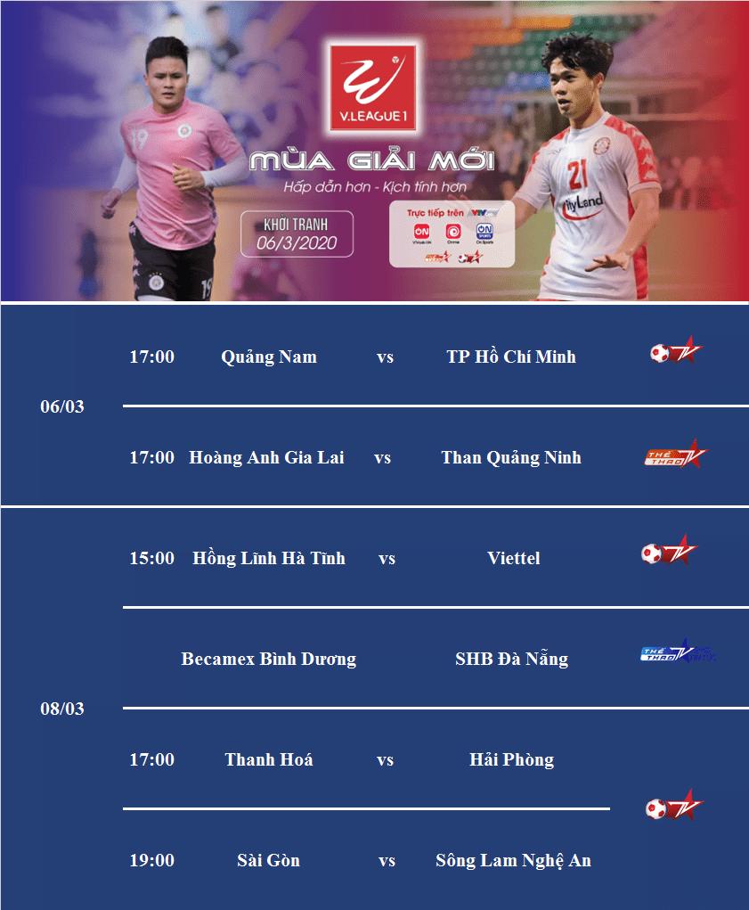 Vòng 1 V.League 2020 sẽ diễn ra từ ngày 6/3. Mời các bạn đón xem giải đấu trên kênh Thể thao TV và Bóng đá TV