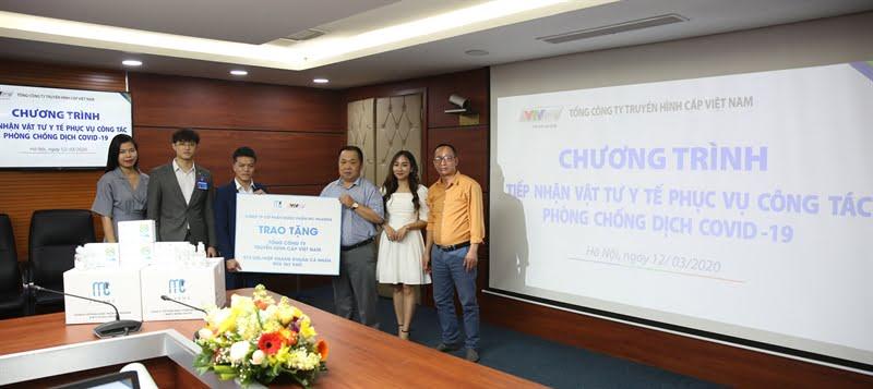 Ngày 12/3/2020, VTVcab đã tổ chức tiếp nhận vật tư y tế phòng chống dịch Covid-19 từ Công ty cổ phần dược phẩm MC Pharma.