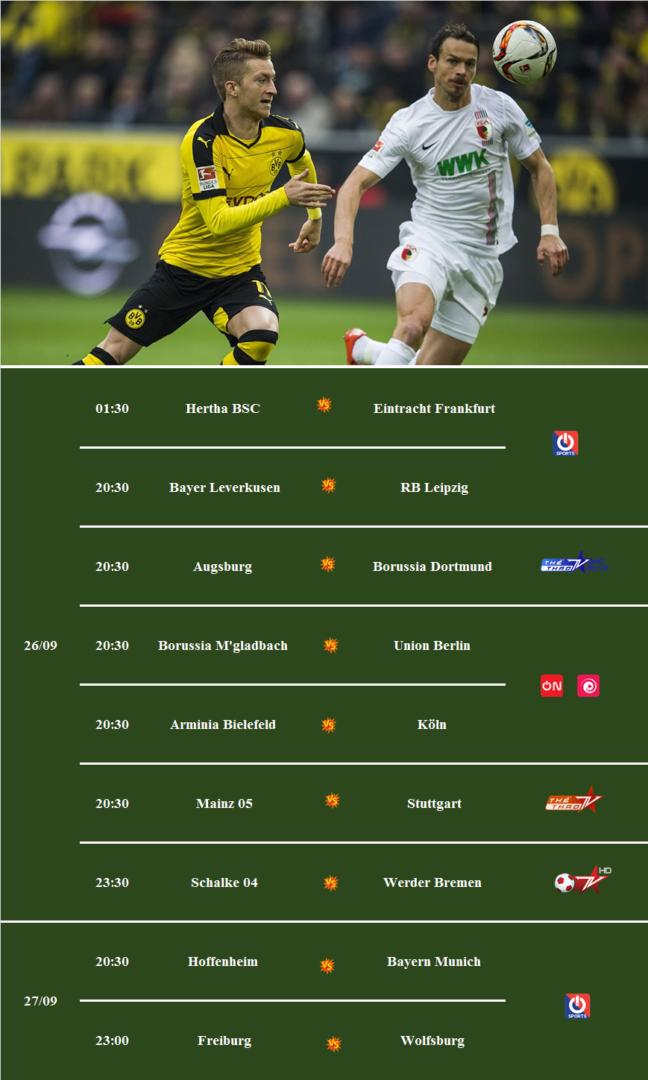 Các trận đấu thuộc giải VĐQG Đức Bundesliga mùa giải 2020/2021 được Đài Truyền hình Việt Nam (VTV) tường thuật trực tiếp trên các kênh VTV5 và VTV6.